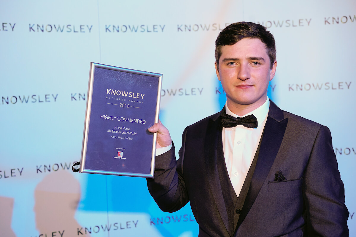 Highly Commended Apprentice of the Year Kevin Porter with his award