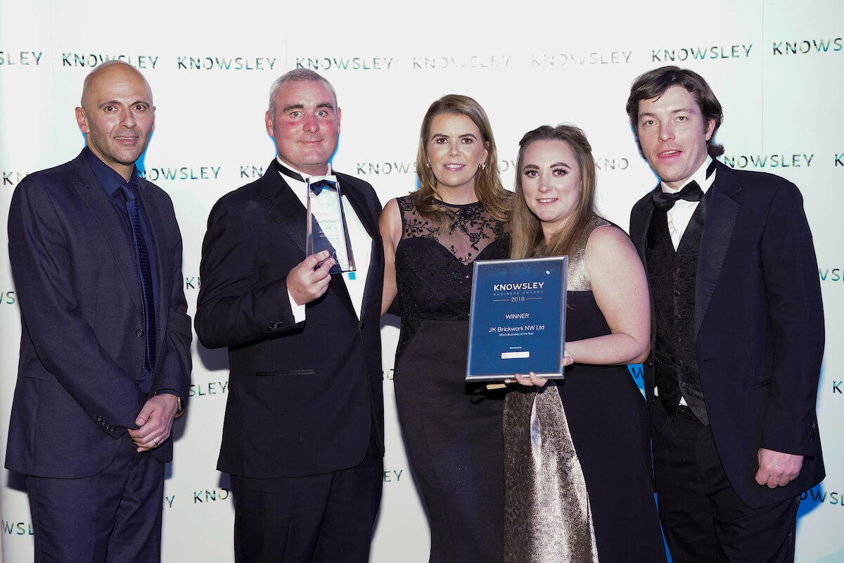 JK Brickwork NW Ltd team with their Micro Business of the Year award